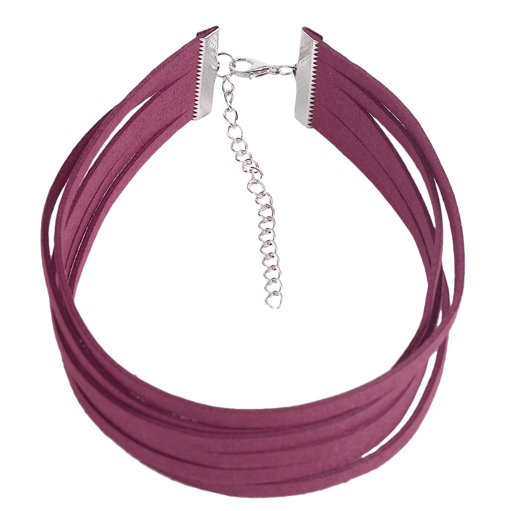 Women Multi-Layers Necklace Choker PU Leather Velvet Party Club Necklace