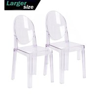 2xhome Set of 2 Large Size - Clear Crystal Mid Century Modern Contemporary Ghost Side Chair Dining Room Chair Victoria Accent Seat Living No Arms Wheels Armless With Back Transparent Guest Office Work