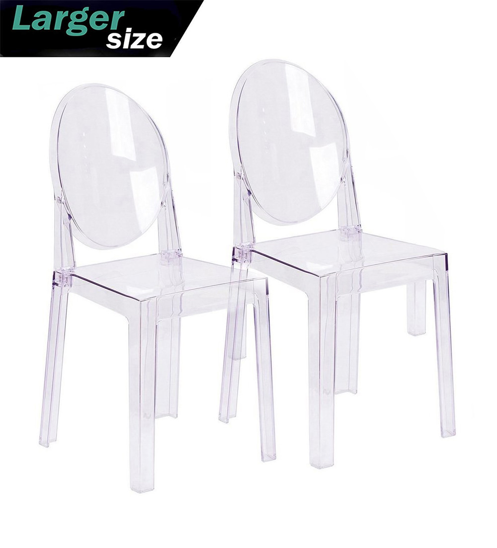2xhome Set Of 2 Large Size   Clear Crystal Mid Century Modern Contemporary  Ghost Side Chair