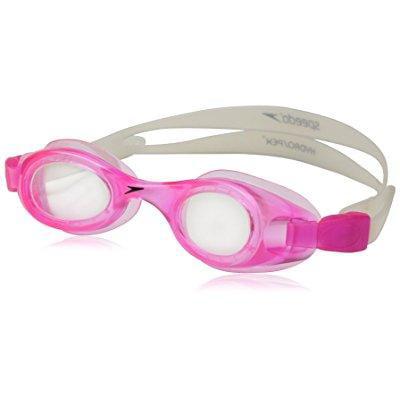 speedo kids' hydrospex swim goggle, pink clear by