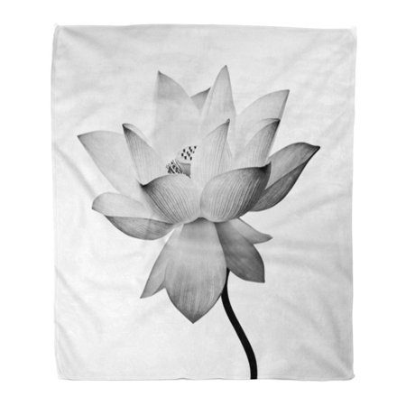 SIDONKU Throw Blanket Warm Cozy Print Flannel Serene Lotus Flower White Zen Beautiful Comfortable Soft for Bed Sofa and Couch 58x80 Inches - Lotus Flower Bead