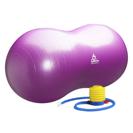 Black Mountain Products Peanut Stability Ball with Pump 1000lb Static Weight Capacity, Purple](Ball Office Products)