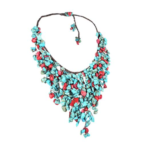 Aeravida Handmade Cotton Red Coral and Turquoise Waterfall Bib Necklace (Thailand) by Overstock