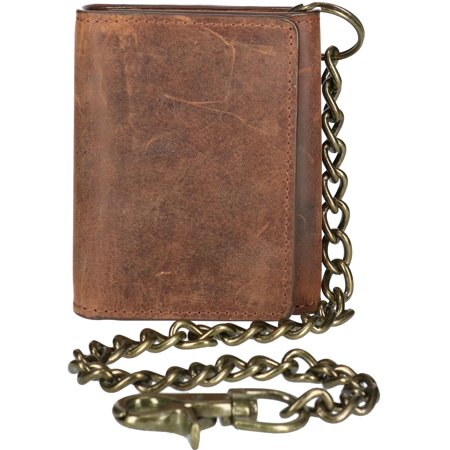 CTM® Crazy Horse Leather RFID Trifold Chain Wallet (Men's)