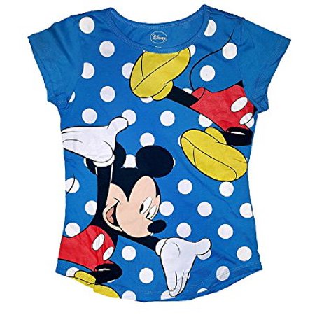 Blue Mickey Mouse ([P] Disney Girls' Mickey Mouse in Polka Dots T Shirt - Blue)