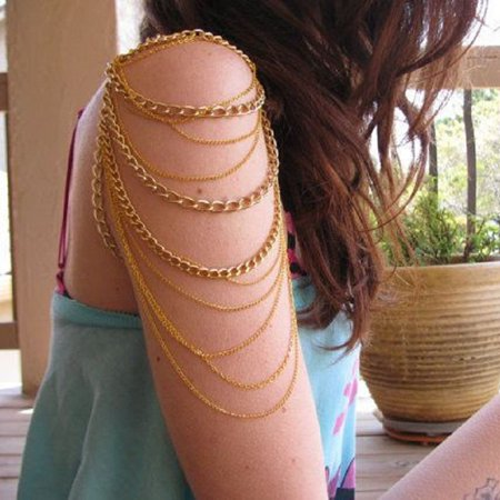 Mosunx Golden Arm Slave Harness Tassels Chain Upper Cuff Armband Armlet Bracelet Bangle