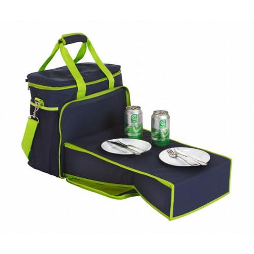 24 Can Insulated Cooler Beach Tote with Collapsible Mini-Table - Navy/Lime