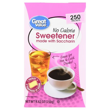 (3 Pack) Great Value Sweetener with Saccharin Packets, No Calorie, 8.82 oz, 250 Count - Fruit Sweater