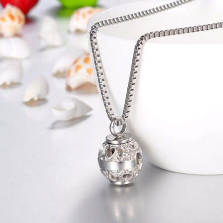 Flower Bead Always in My Heart Silver Cremation Jewelry Ashes Keepsake Necklace