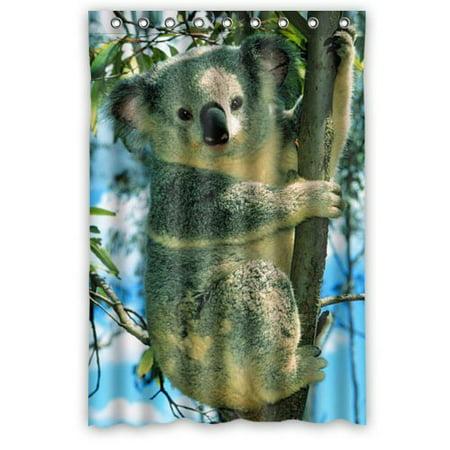 RYLABLUE Funny Koala Climbing Tree Look Down Waterproof Bathroom Fabric Shower Curtain 48x72 inches - image 1 of 1