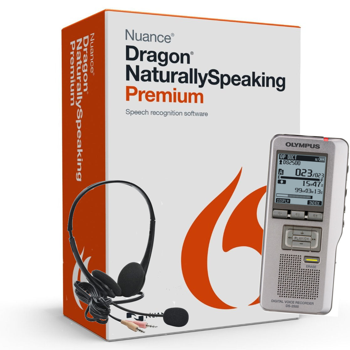 Nuance 365767 Dragon Naturally Speaking Premium Version 13 Speech Recognition Software with Olympus Expandable 2 GB Digital Voice Recorder