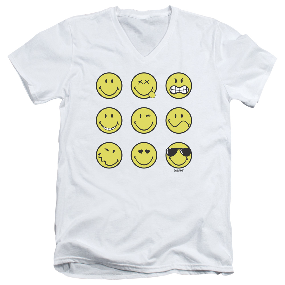 Smiley World Nine Faces Mens V-Neck Shirt