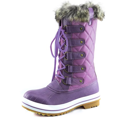 Women's DailyShoes Lace Up Knee High Artic Warm Fur Water Resistant Eskimo Snow Boots