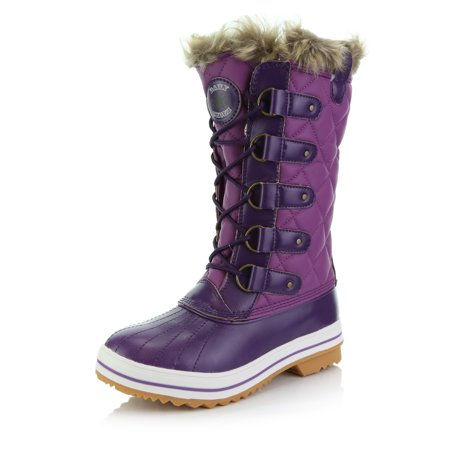 Women's DailyShoes Lace Up Knee High Artic Warm Fur Water Resistant Eskimo Snow Boots ()