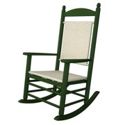 """47"""" Earth-Friendly Recycled Patio Rocking Chair - Green w/ White Loom Weave"""