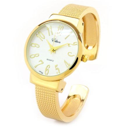 Gold Mesh Style Band Large Dial Easy to Read Women