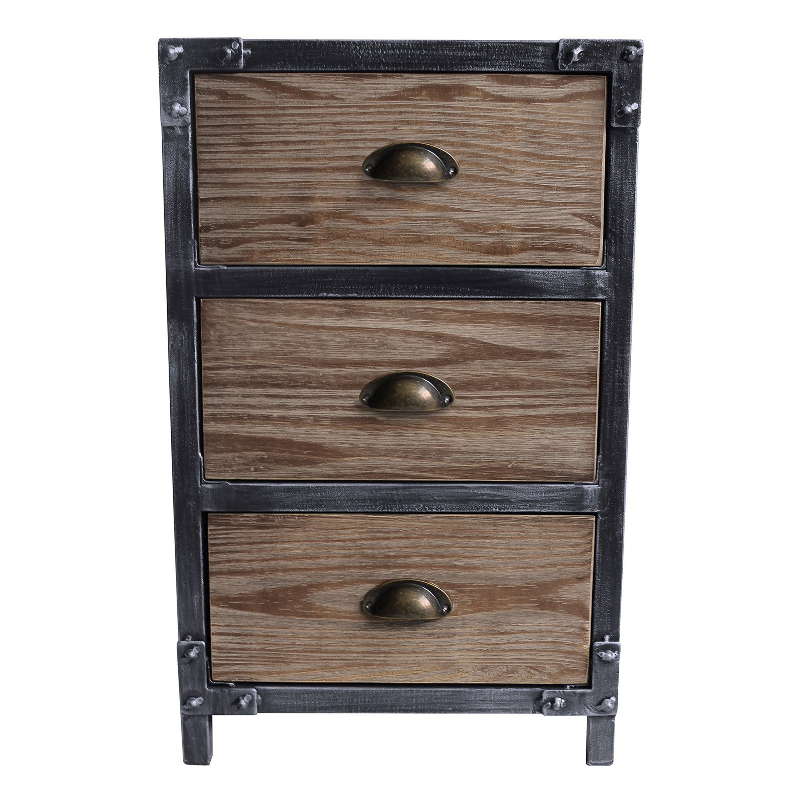 Home Chic Jordan Industrial 3 Drawer End Table