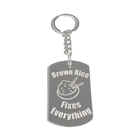 Brown Rice Fixes Everything - Metal Ring Key Chain Keychain