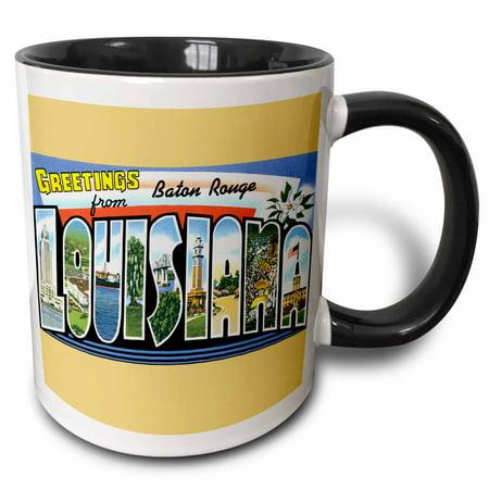 3dRose Greetings from Baton Rouge Louisiana Scenic Postcard - Two Tone Black Mug, 11-ounce