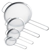 "U.S. Kitchen Supply Set of 4 Fine Mesh Stainless Steel Strainers with Wide Ear Design, 3"", 4"", 5.5"", 8"""