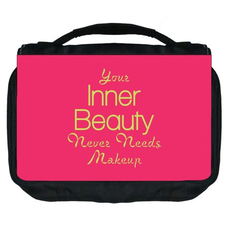 Small Travel Toiletry / Cosmetic Case with 3 Compartments and Detachable Hanger Your Inner Beauty Never Needs Makeup - Nerd Makeup