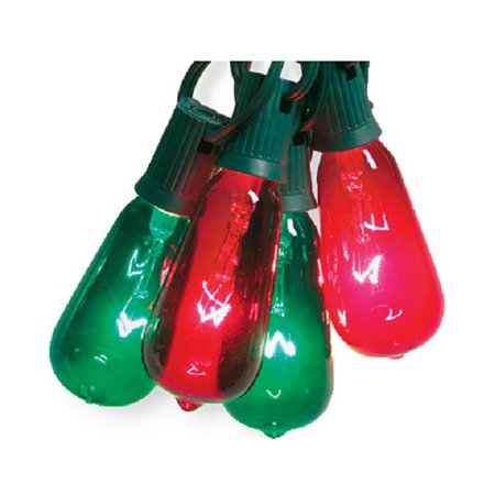 Noma/Inliten-Import V51597 Christmas String Light Set, Edison Bulb, Green & Red, 10-Ct ...