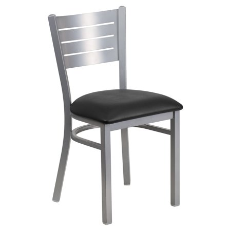 (Flash Furniture HERCULES Series Silver Slat Back Metal Restaurant Chair, Vinyl Seat, Multiple Colors)