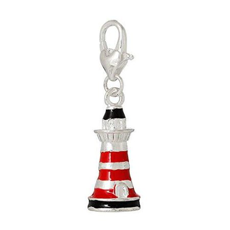 Florida Lighthouse Charm - Lighthouse Tower Clip on Charm Pendant for European Charm Jewelry with Lobster Clasp