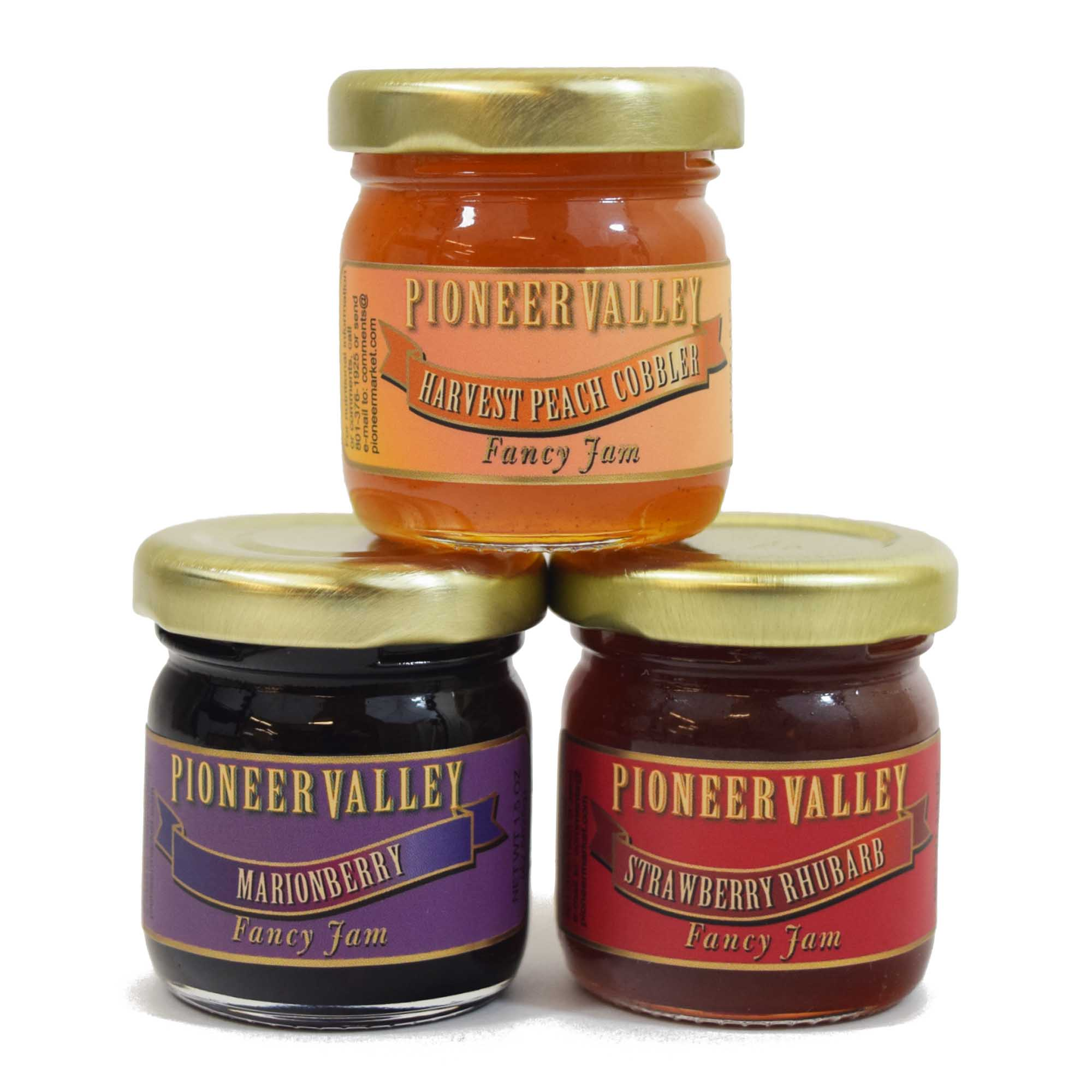 Mini Jam Gift Set 3-Pack - Harvest Peach Cobbler, Marionberry, Strawberry Rhubarb