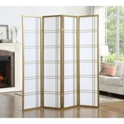 """Roundhill Furniture Seto 4 Panel Room Divider Screen, 71"""" Tall, Gold"""
