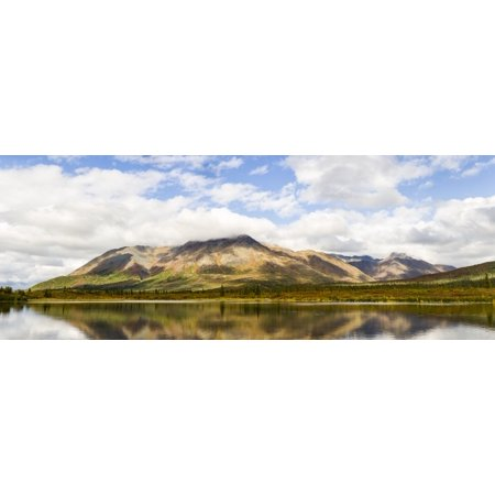 Composite Panorama Of The Clearwater Mountains And Lake Near Windy Creek Along The Denali Highway In Southcentral Alaska Autumn Afternoon Posterprint