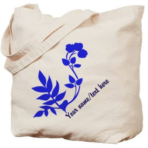 Cafepress Personalized Blue Flower With Leaves Tote Bag