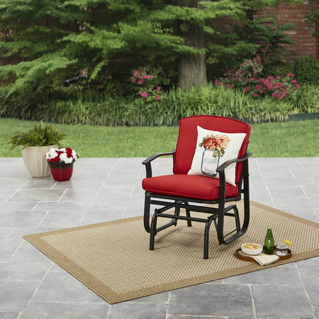 Mainstays Belden Park Outdoor Glider Chair Red Walmart Com