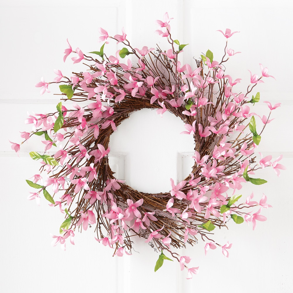 Spring Forsythia Floral Twig Door Wreath - Seasonal Door Accent for Any Room, Lavender