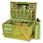 Wooden Picnic Box w Insulated Wine Bottle Bag