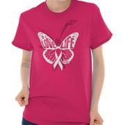 Brisco Brands Free Butterfly Love Life BCA Lady Short Sleeve T Shirt