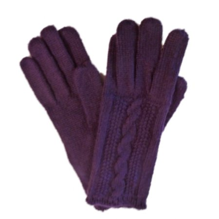 Fownes Womens Soft   Sleek Purple Cable Knit Gloves