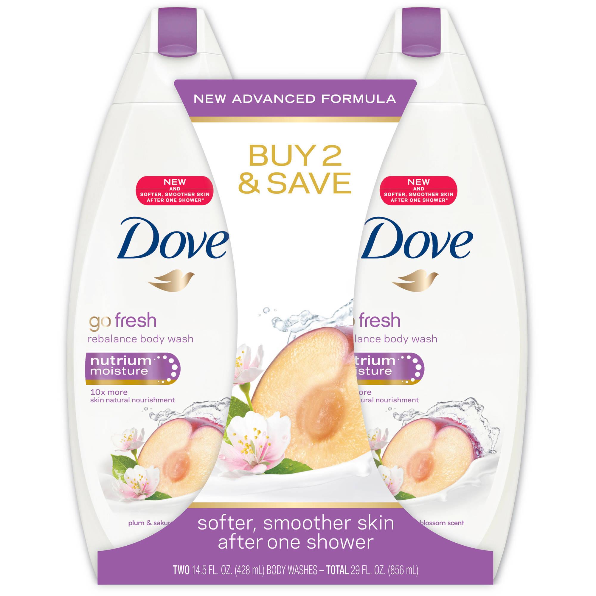 Dove go fresh Rebalance Body Wash, 14.5 oz, Twin Pack
