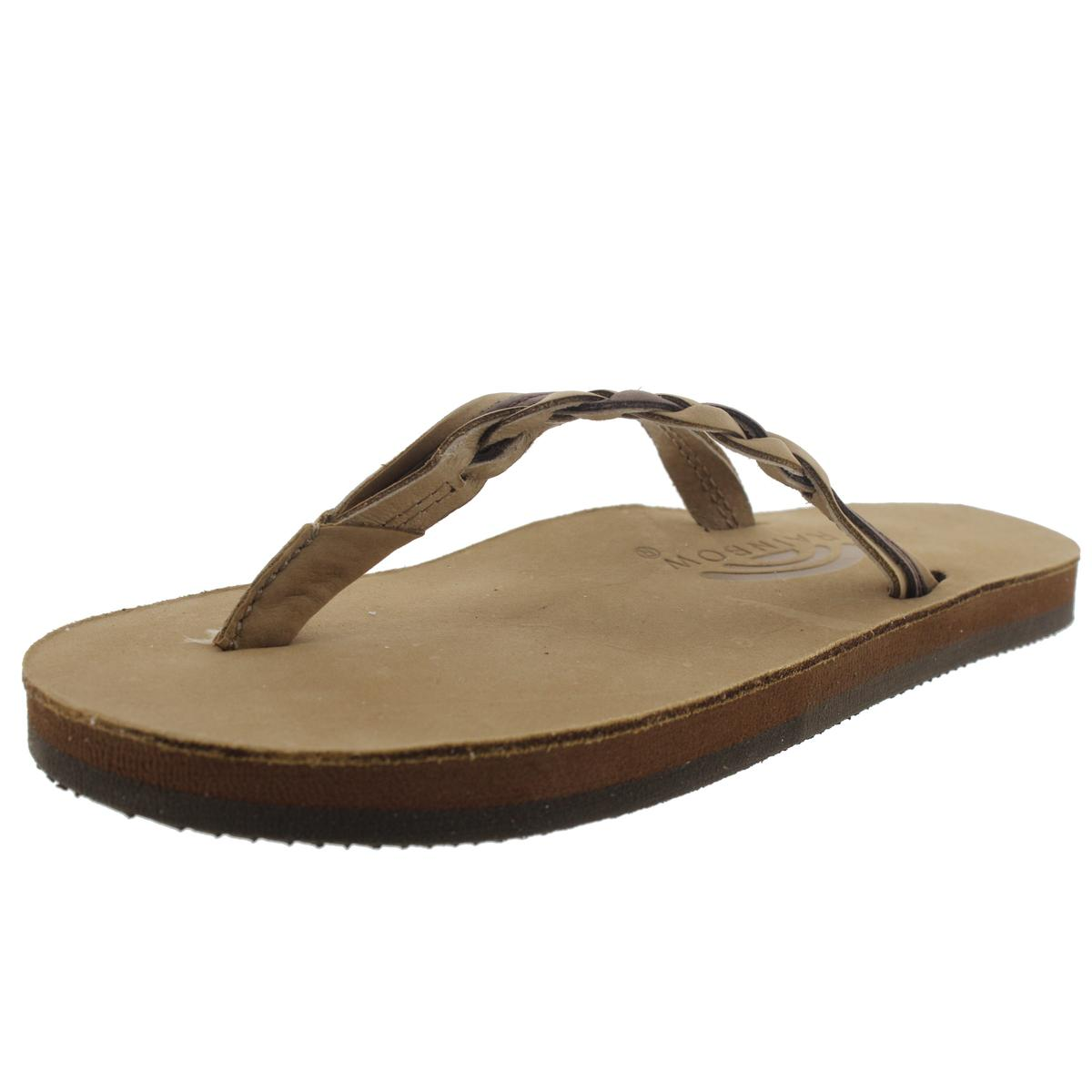 Rainbow Sandals Womens Flirty Braidy Leather Thong Flip-F...