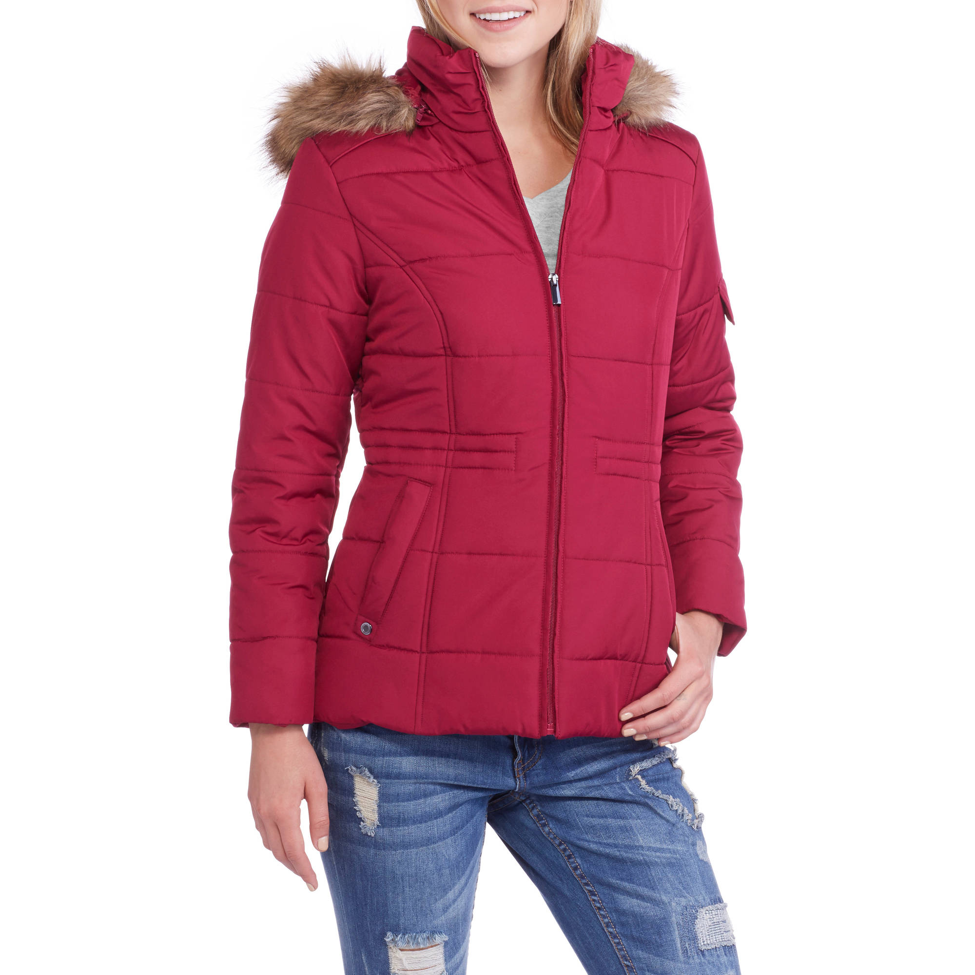 Faded Glory Women's Quilted Puffer Jacket with Fur-Trim Hood ...