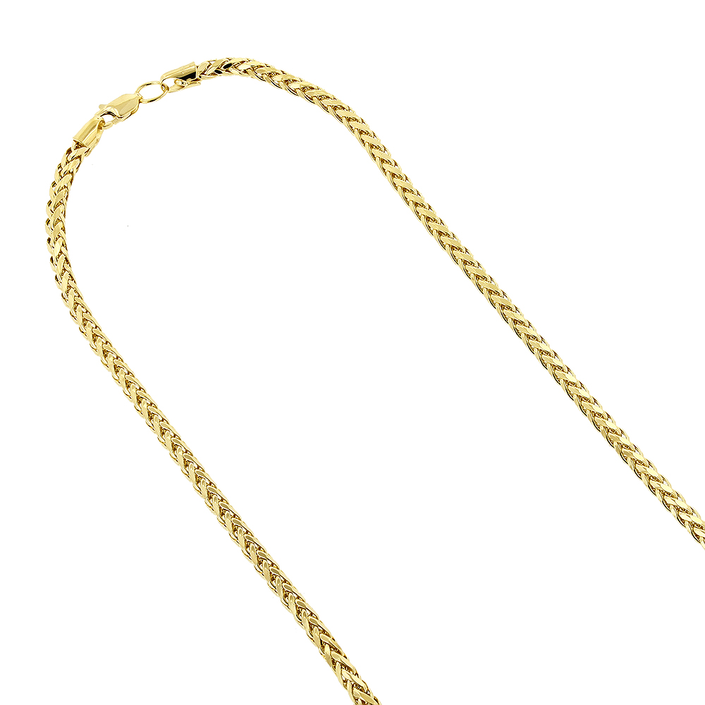 16 to 24 Inches Jawa Jewelers 10K Yellow Gold Men Womens 0.6MM Round Diamond Cut Wheat Chain Lobster Clasp