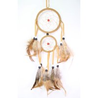 Handmade Dream Catcher with Feathers Wall Hanging Decoration Ornament Gift (Yellow) New