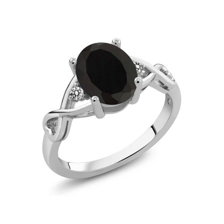 2.06 Ct Oval Black Onyx White Diamond 925 Sterling Silver Ring - image 4 de 4