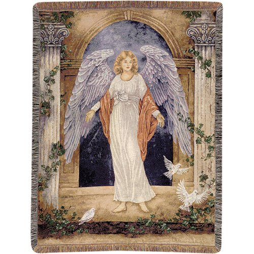Manual Woodworkers & Weavers Guardian Angel Tapestry Cotton Throw