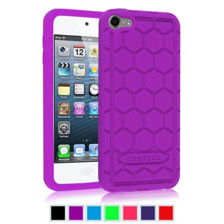 (Fintie iPod Touch 6 / iPod Touch 5 Case - [Kids Friendly] Shock Proof Anti Slip Silicone Protective Cover, Purple)