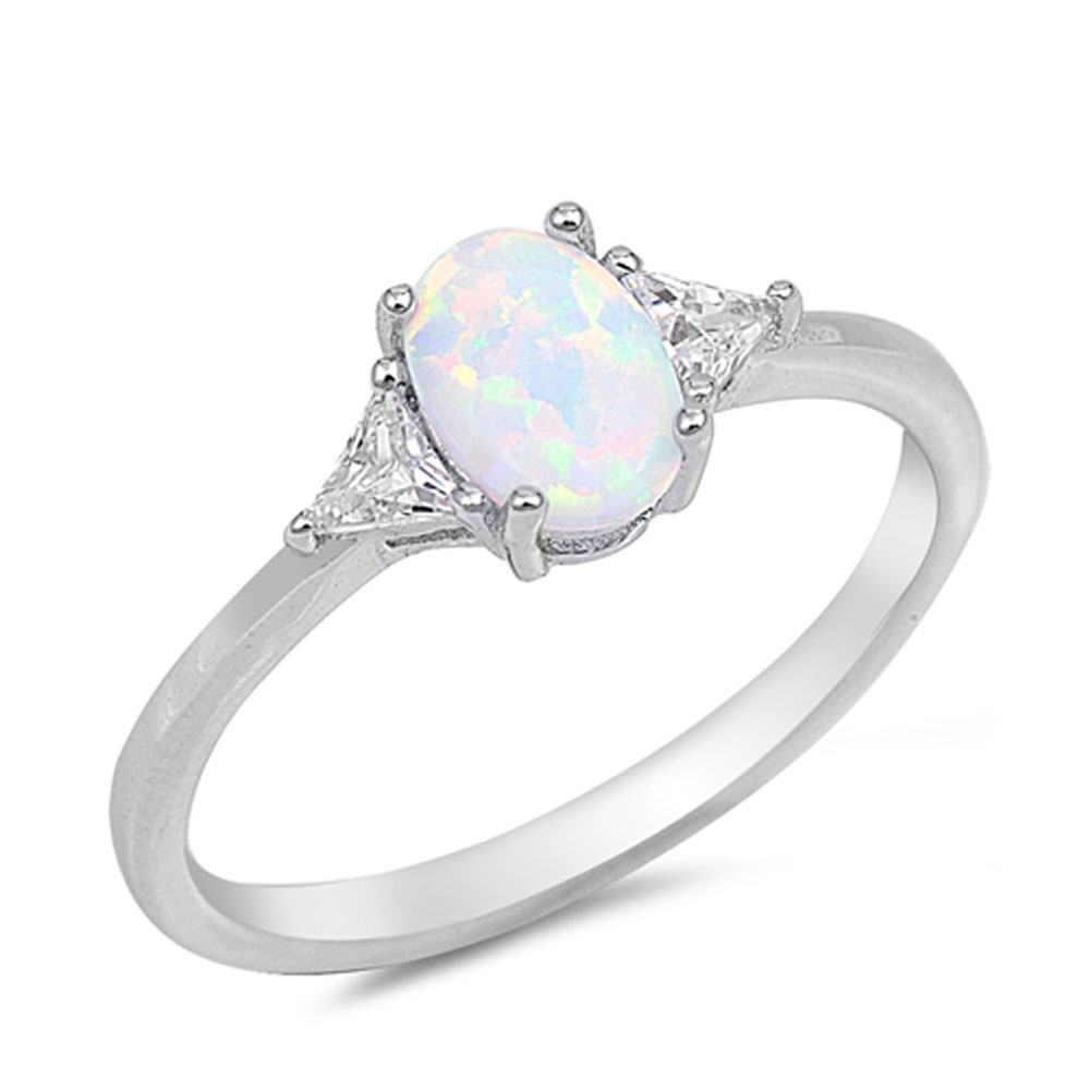 Clear CZ White Simulated Opal Wedding Ring ( Sizes 4 5 6 7 8 9 10 ) New .925 Sterling Silver Band Rings by Sac Silver (Size 5)
