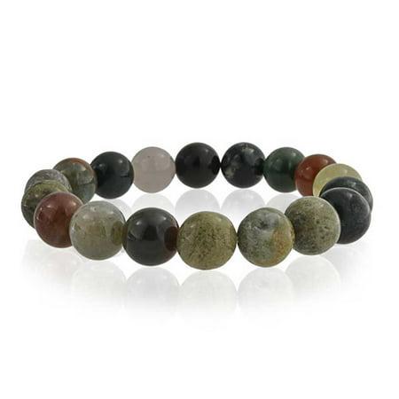 - Multi Color Simulated Fancy Jasper Bead Stretch Bracelet
