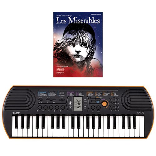 Casio SA-76 44 Key Mini Keyboard Bundle Includes Bonus Les Misérables Beginning Piano Solo Songbook