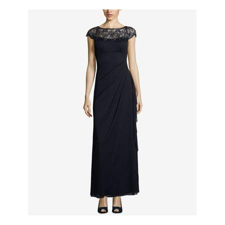 XSCAPE Womens Navy Embellished Illusion Gown Cap Sleeve Jewel Neck Maxi Sheath Evening Dress Petites  Size: 10P