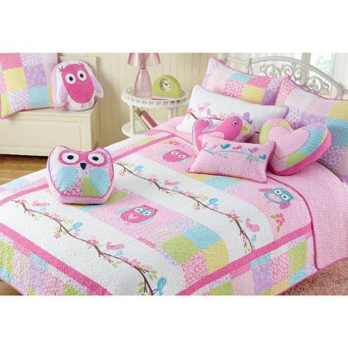 BEST BEDDING INC Pink Owl Cotton 3-piece Quilt Set